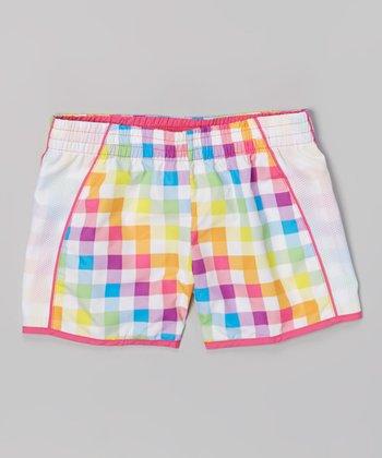 Raya Sun White & Bubblegum Plaid Taffeta Running Shorts - Girls