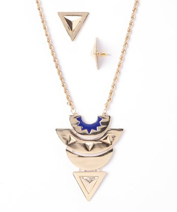 Gold & Blue Geometric Pendant Necklace & Drop Earrings