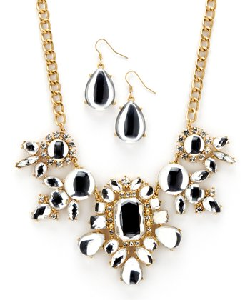 Gold & Crystal Bib Necklace & Drop Earrings