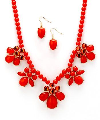 Coral Cluster Necklace & Drop Earrings