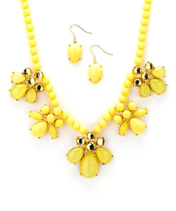 Yellow Cluster Necklace & Drop Earrings