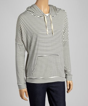 Black & Ivory Wide-Fit Stripe Hoodie