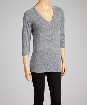 Dark Gray Snow Jersey V-Neck Tee - Women