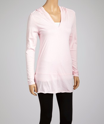 Baby Pink V-Neck Hooded Tunic - Women