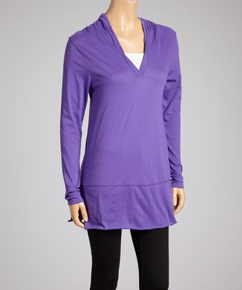 Grape V-Neck Hooded Tunic - Women