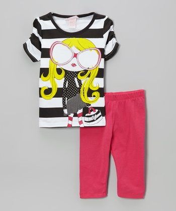 Fuchsia Stripe Tunic & Leggings - Girls