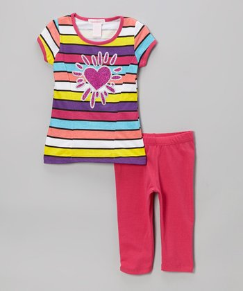 Fuchsia Heart & Stripe Tunic & Leggings - Toddler & Girls