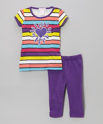 Purple Heart & Stripe Tunic & Leggings - Toddler & Girls