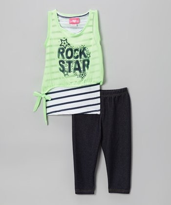 Lime Stripe 'Rock Star' Tunic & Leggings - Toddler & Girls