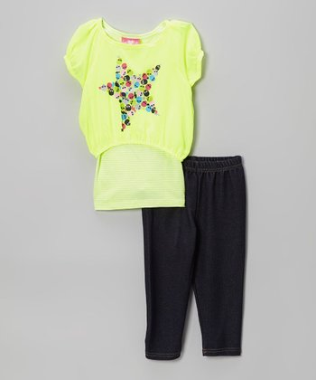 Yellow Chiffon Stars Tunic & Leggings - Infant & Toddler