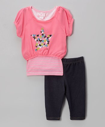 Pink Chiffon Stars Tunic & Leggings - Infant & Toddler