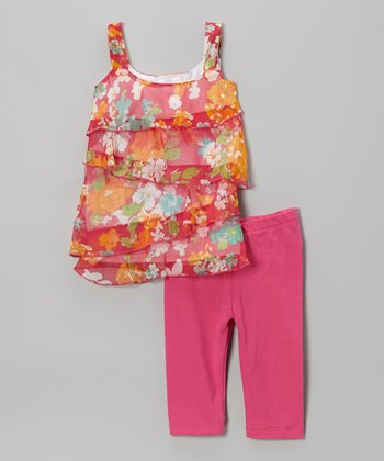 Pink Floral Ruffle Tunic & Leggings - Toddler & Girls