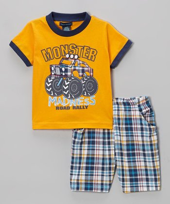 Orange Plaid 'Madness' Tee & Shorts - Infant, Toddler & Boys
