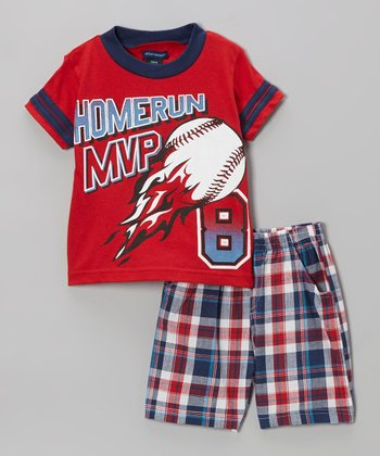 Red Plaid 'Homerun MVP' Tee & Shorts - Infant, Toddler & Boys