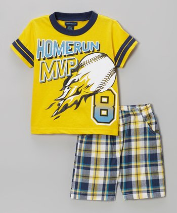 Yellow Plaid 'Homerun MVP' Tee & Shorts - Infant, Toddler & Boys