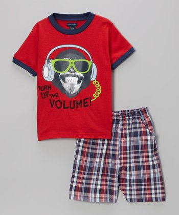Red Plaid 'Turn Up the Volume!' Tee & Shorts - Toddler