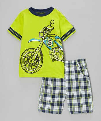 Lime Plaid '5' Motorcycle Tee & Shorts - Toddler & Boys