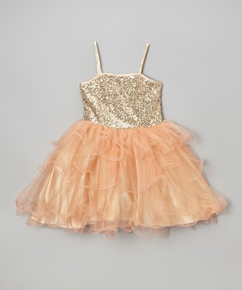 Orange Sequin & Ruffle Danielle Dress - Toddler & Girls