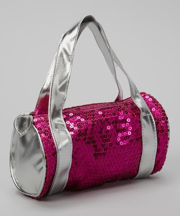 Fuchsia Sequin Barrel Shoulder Bag