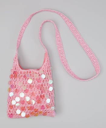 Pink Paillette Crocheted Crossbody Bag