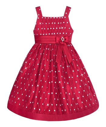 Red Rhinestone & Diamond A-Line Dress - Girls