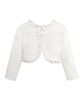White Ruffle & Bow Cardigan - Infant