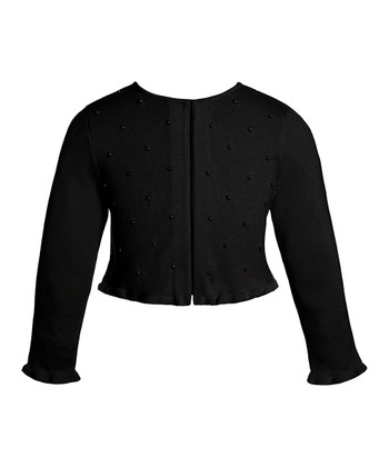 Black Button Ruffle Cardigan - Girls