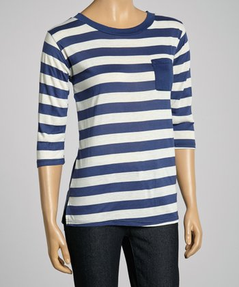 Blue & White Stripe Pocket Top