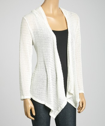 Ivory Hooded Open Cardigan