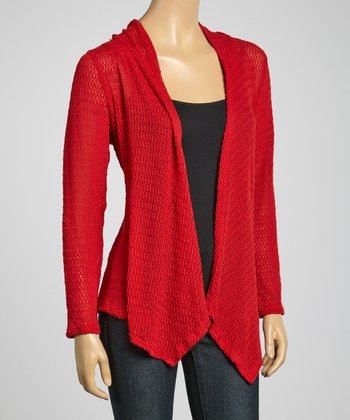 Red Hooded Open Cardigan