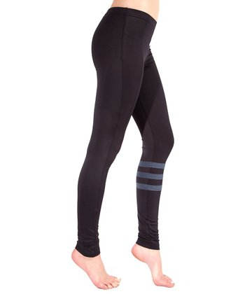Black & Charcoal Stripe Leggings - Women