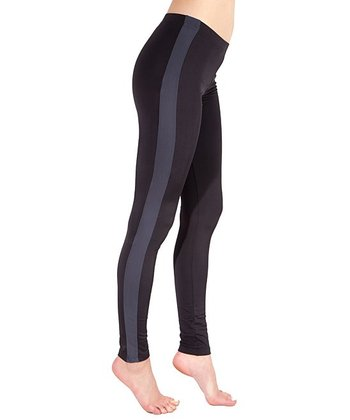 Black & Charcoal Tuxedo Leggings - Women
