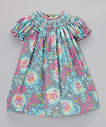 Pink & Blue Floral Bishop Dress - Infant, Toddler & Girls
