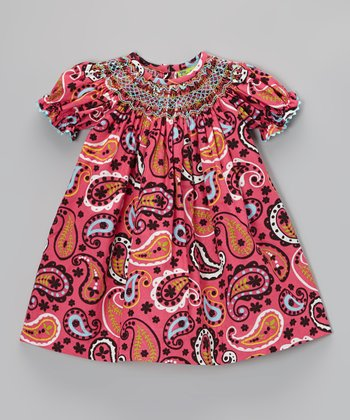 Pink & Black Paisley Bishop Dress - Infant, Toddler & Girls
