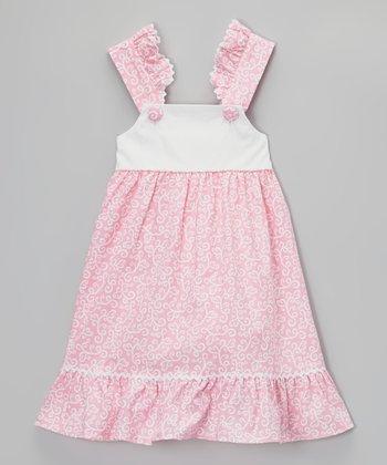 Pink & White Paisley Ruffle Dress - Infant, Toddler & Girls