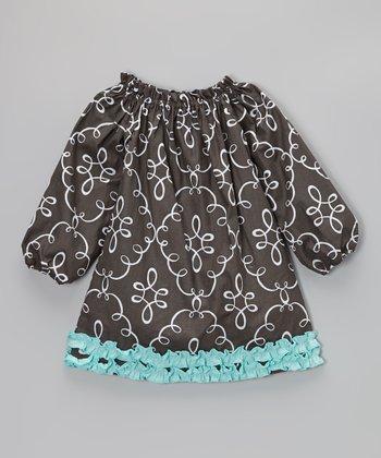 Gray & Blue Doodle Damask Ruffle Dress - Infant, Toddler & Girls