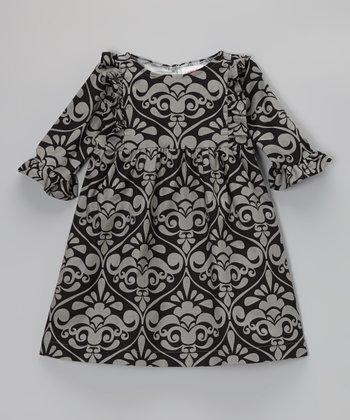 Gray & Black Damask Bib Dress - Infant, Toddler & Girls