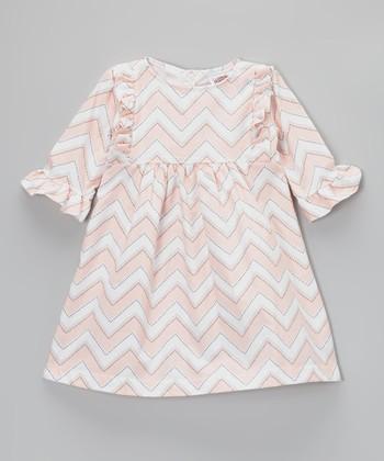 Pink & White Zigzag Lauren Dress - Toddler & Girls