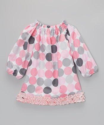 Pink & Gray Polka Dot Stella Dress - Infant, Toddler & Girls