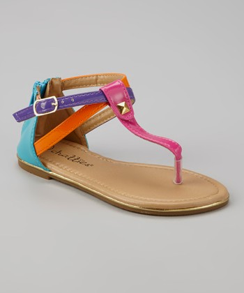 Fuchsia Color Block T-Strap Sandal