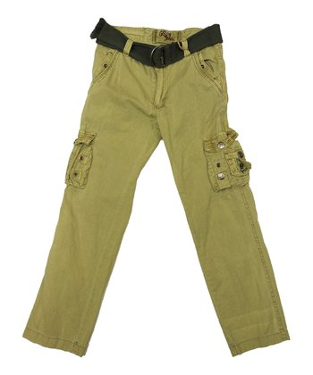 Khaki & Black Belted Cargo Pants - Boys