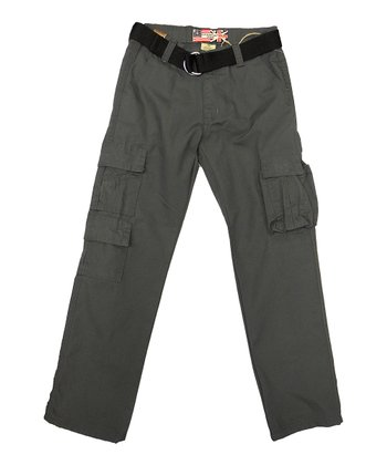 Charcoal Gray & Black Canvas Belted Cargo Pants - Boys