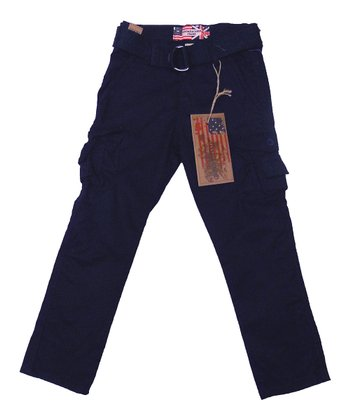 Navy Blue Belted Cargo Pants - Toddler & Boys