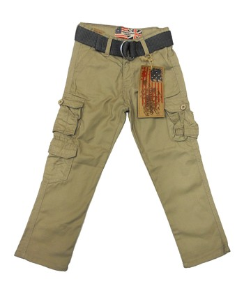 Khaki Triple-Pocket Belted Cargo Pants - Toddler