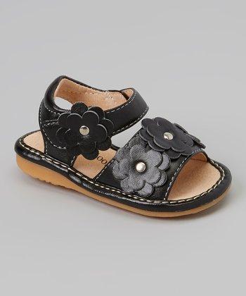 Sneak A' Roos Black Floral Squeaker Sandal