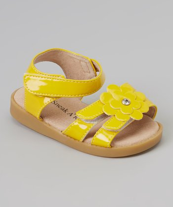 Sneak A' Roos Yellow Patent Flower Squeaker Sandal