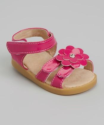 Sneak A' Roos Hot Pink Patent Flower Squeaker Sandal