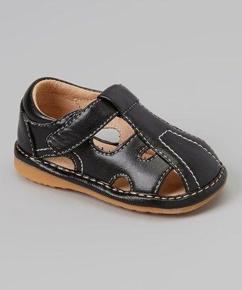 Sneak A' Roos Black Closed-Toe T-Strap Squeaker Sandal
