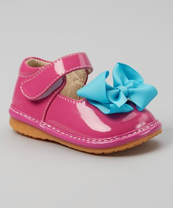 Laniecakes Hot Pink & Teal Bow Squeaker Mary Jane