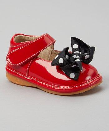 Laniecakes Red & Black Polka Dot Bow Squeaker Mary Jane